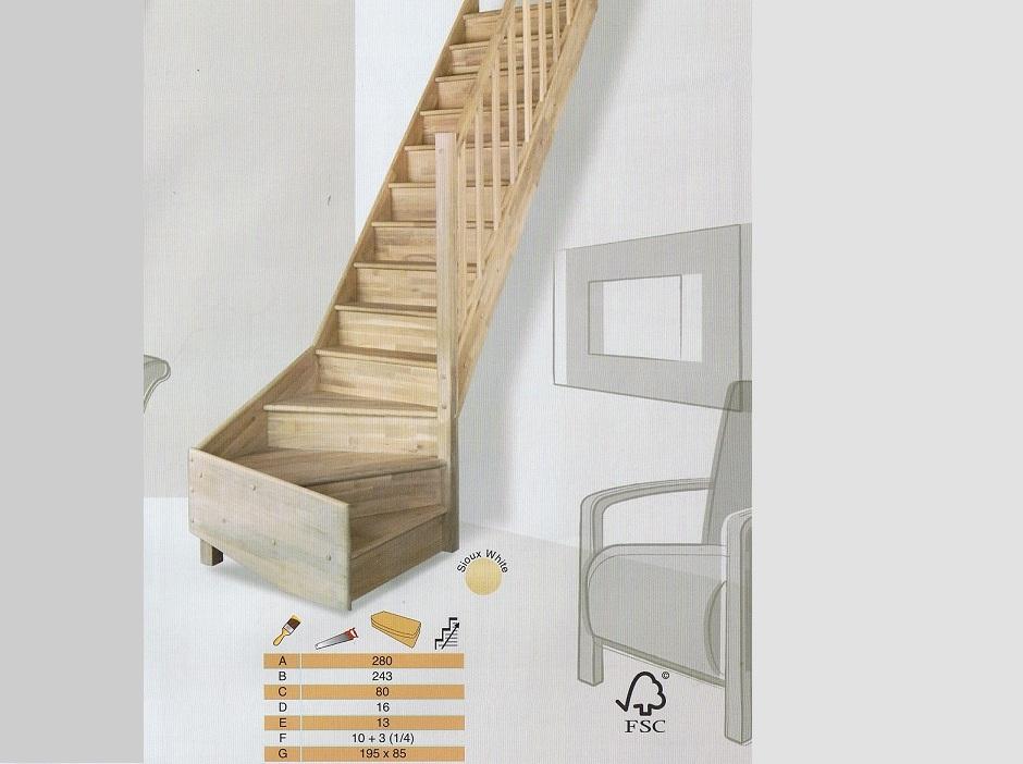 Trappen met een kwartslag - Moderne trap kwartslag ...
